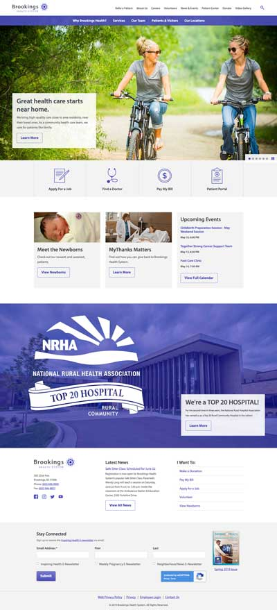 Home page for the new Brookings Health System website
