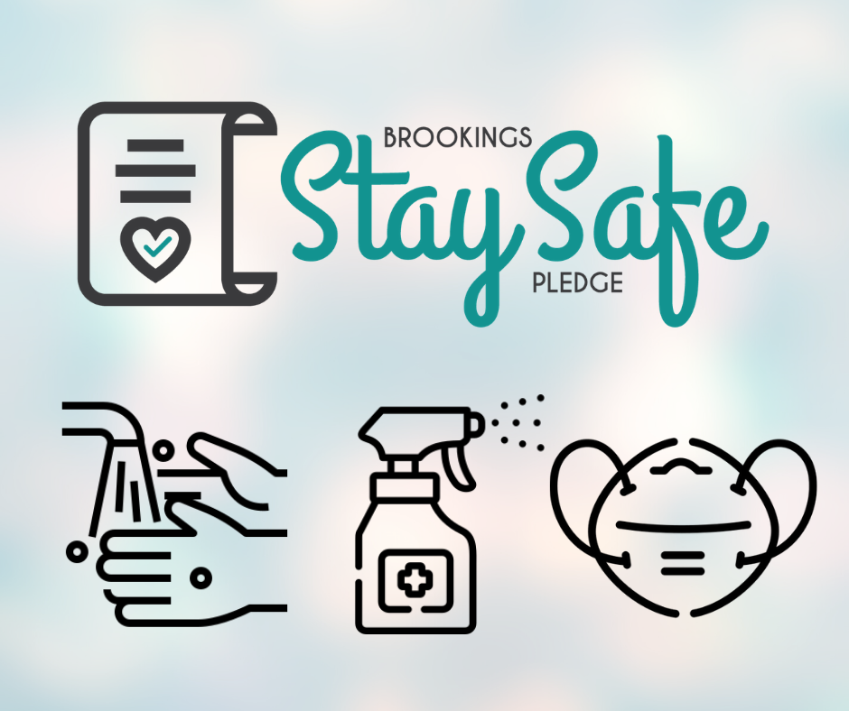 Graphic for the stay safe pledge including icons for washing hands, a bottle of disinfectant, and a face mask
