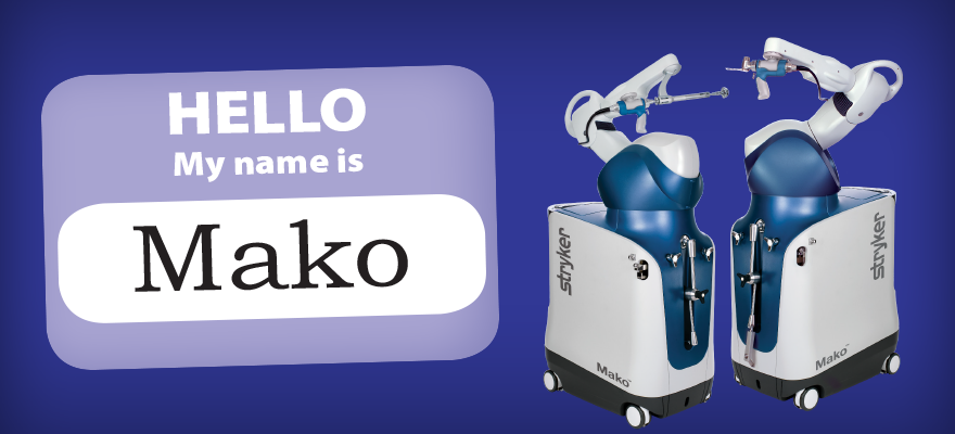 """Hello My name is Mako"" nametag with pictures of Mako robot"