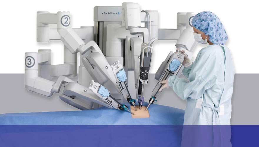Nurse adjusts the ports of the da Vinci robotic surgical system on a patient