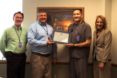 The ESGR Above and Beyond Award was one of several honors presented to Brookings Health System this past year. Pictured from left to right are CFO Steve Lindemann, CEO Jason Merley, Physician Assistant Dave Fossum, and CNO Tammy Hillestad. The health system also earned several accolades in 2016 for providing high-quality care across its line of health care services.