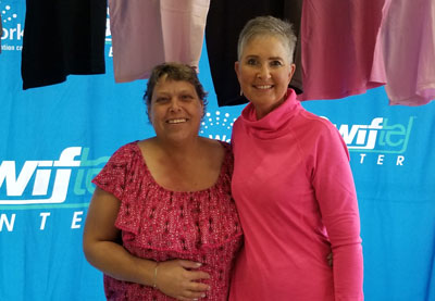 Rita Leintz of Sinai poses with Breast Cancer Patient Champion Mary Oien Reed, a resource Rita turned to during her breast cancer journey. Mary has encouraged Rita and also reassured her she was not alone in her fight. Brookings Health System offers the Breast Cancer Patient Champion program thanks to funds raised by the Swiftel Center during the annual Tough Enough to Wear Pink campaign.