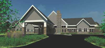 Rendering of the front of the new skilled nursing facility