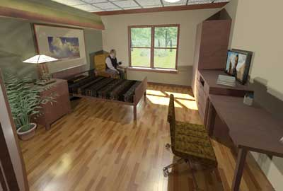 Rendering of a resident's room at the new skilled nursing facility